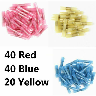 100x Heat Shrink Butt Tube Splice Connector Solder Seal Wire Shrink Terminal