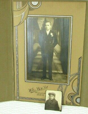 1920s & 1930s Photos As Boy And Man Same Person Art Deco Decorated Folder mb156