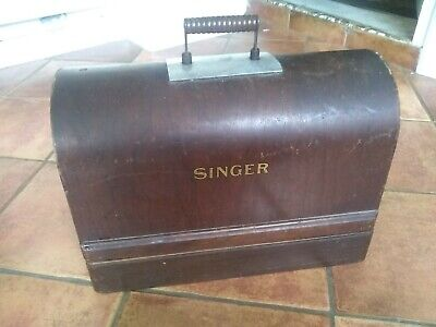 Singer Hand crank Sewing Machine WOODEN BASE & COVER    From machine Y8914581