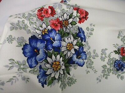 """VINTAGE RED WHITE & BLUE KITCHEN TABLECLOTH with PRETTY FLOWERS 50"""" X 62"""""""