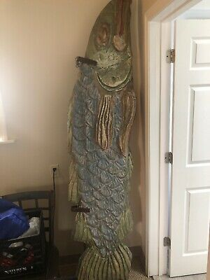7 Foot Hand Carved Wooden Fish