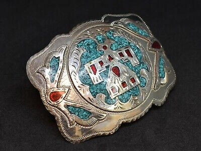 Vintage Zuni Belt Buckle Turquoise & Red Inlay Eagle Southwestern Indian Buckles