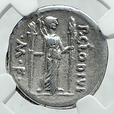 Roman Republic Ancient 42BC Silver Coin APOLLO & DIANA LUCIFERA TORCH NGC i78642