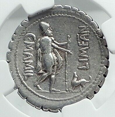 ODYSSEUS returns from ODYSSEY to DOG 82BC Silver Roman Republic Coin NGC i78644