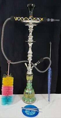 Egyptian Custom Handcrafted Hookah/Shisha W/ Brushes, Clay Bowl, Hose & Grommets