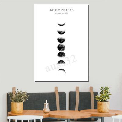 Moon Phases Abstract Canvas Print Painting Picture Wall Mural Hanging Home