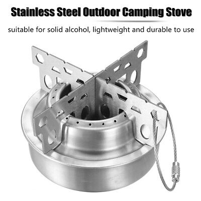 Portable Outdoor Camping Stove Stainless Alcohol Cross Stand Rack Combo Set Q0H8