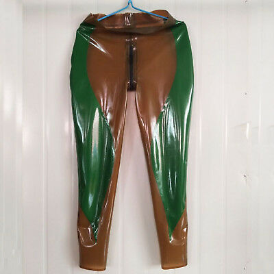 Rubber New Latex Men Smoke Gray and Apple Green trouser with Zipper Size S-XXL