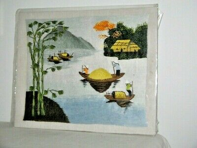 Chinese Ladies in Sanpans Fabric Stitched Picture Trees Mountain Home Unframed