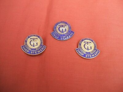 3 Old Transport And General Workers Union Shop Steward Brass & Enamel Badges
