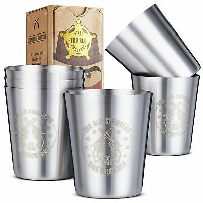 Stainless Steel Shot Glasses (Set of 6) - 2 oz Unbreakable Metal Shooters for...