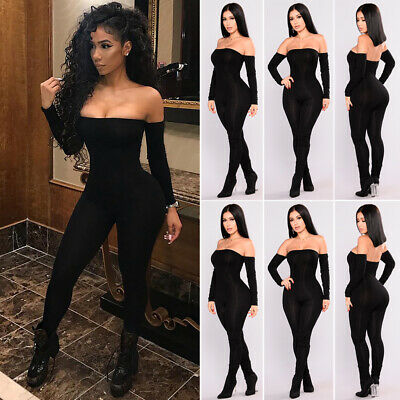 Womens Sexy Off Shoulder Clubwear Playsuit Bodycon Jumpsuit Romper Long Trousers