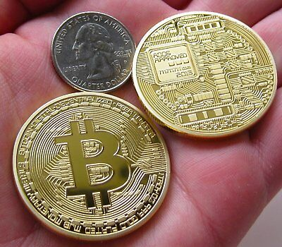 2X Gold Bitcoin Commemorative Round Collectors Coin Bit Coin Plated Non-currency