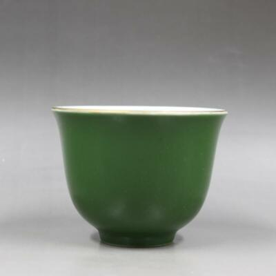 Chinese ancient antique hand make Green glazed tea cup m26