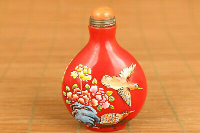 Old red glaze hand carving flower animal statue snuff bottle noble gift