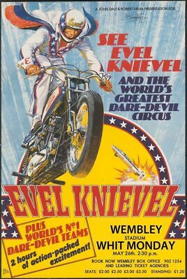 Metal Sign The Adventures of Evel Knievel Classic Stunt Cycle Collectors Rusted