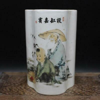 Chinese ancient antique hand make Character Stories Chopstick barrel  m39