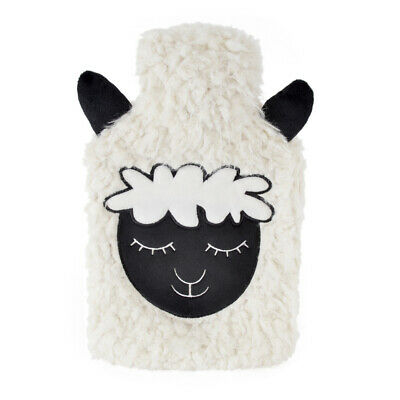 Kids Large Embroidered Shaggy Fleece Natural Rubber Hot Water Bottle White
