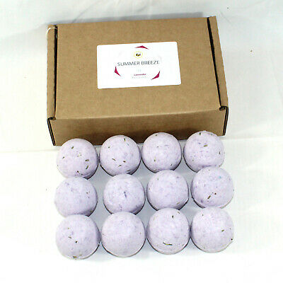 Bath Bombs reduced plastic 12 x 65g rounds Summer breeze - Lavender scented
