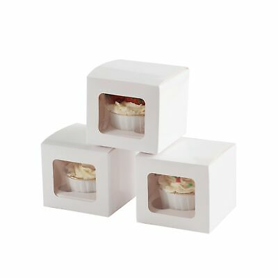 50 x Individual White Cupcake Boxes Presentation Fairy Cup Cake Insert NO Window
