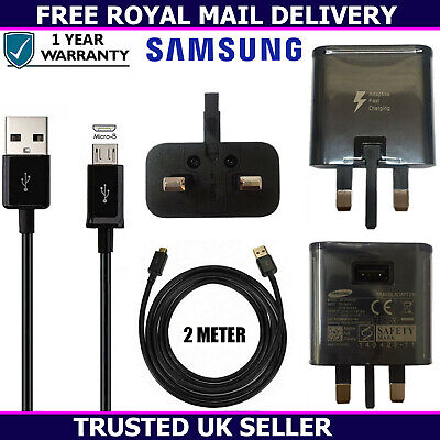 Genuine Samsung Fast Charger Plug & 2M USB Cable For Galaxy S2 S3 S4 S5 Mini Lot