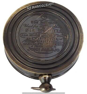 Antique Nautical Brass Marine Directional Pocket Sundial Compass Sun Clock Gift