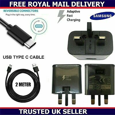 Genuine Samsung Fast Charger Plug & 2M Long USB-C Cable For Galaxy A70 A80 2019