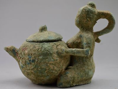 Collectables! Ancient Dynasty Decorated Bronze Carved Maid Embrance Tea Pot