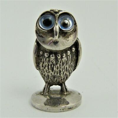 Antique Miniature Silver Figure Of An Owl With Glass Eyes, Marked 925