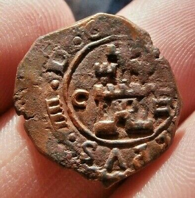 1621 Pirate Cob Coin Old 4 Maravedis Felipe / Philip Iv Colonial Treasure Times