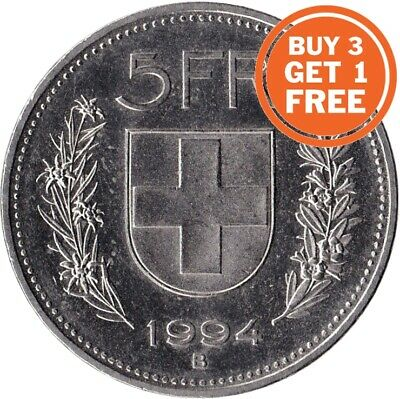 5 Swiss Franc Coin Choice of Dates 1922 to 2019 Switzerland
