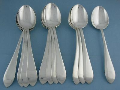 """12 Sterling DOMINICK & HAFF 6 3/4"""" Oval Soup Place Spoons POINTED ANTIQUE NoMono"""