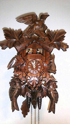large  cuckoo clock musical play 2 melodies black forest wall clock 3 wight