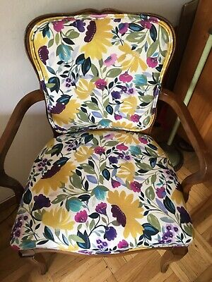 Kim Parker linen floral fabric on French style upholstered chair