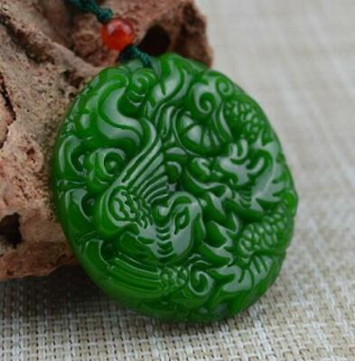 New  jade statue Pendant Natural Amulet Necklace Green jade Dragon phoenix