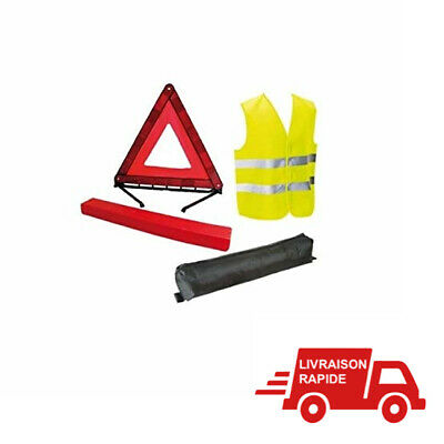 Kit Gilet Jaune Triangle Signalisation Vehicule Norme CE Securite Route Voiture