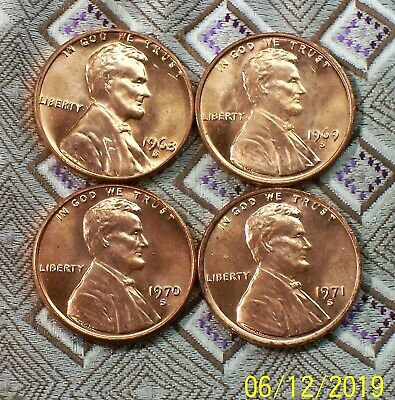 "1968,69,70,71 "" S "" Mint Lincoln Memorial Cent's ( 4 Coin's ) ( Itm #8785 )"