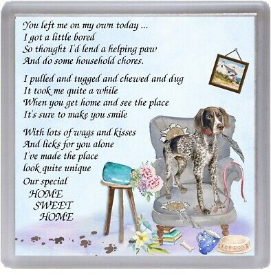 "German Shorthaired Pointer Dog Coaster ""HOME SWEET HOME Poem ...."" by Starprint"