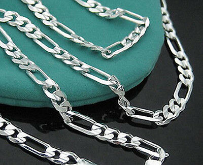 """Wholesale 925 Sterling Silver 2mm Chains Italy Figaro Necklace Men Women 16-30"""""""