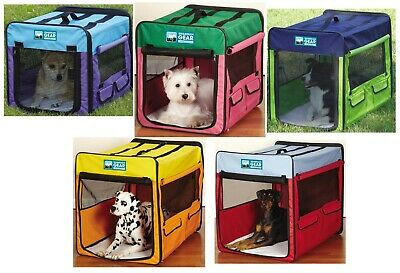 Collapsible Dog Crate Portable Pet Travel Colorful Mesh Panel Window Choose Size