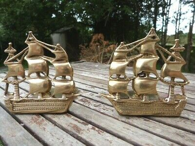 Lovely Pair Of Vintage Brass Nautical Ship Bookends Stamped Nauticalia London