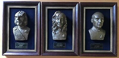 STAR TREK,USS ENTERPRISE,STUNNING GROUP OF 3 x FRAMED HIGH RELIEF BRONZE BUSTS.