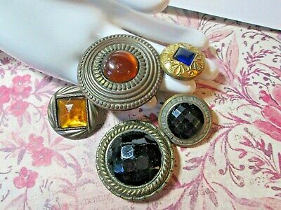 Lot of 5 med/lrg Vintage Metal JEWELED GAY 90's NINETIES Buttons* Lot 4   * 2023