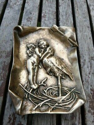 Lovely Heavy Antique Vintage Solid Brass Embossed Pin Card Dish Tray