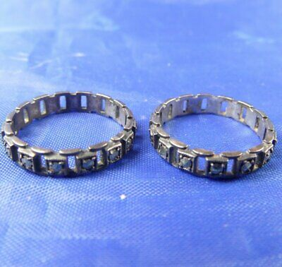 Stunning Vintage 1930S Silver & Marcasite Stacking Eternity Rings Size H.5