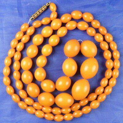 Antique Art Deco Tested Butterscotch Bakelite Beads Necklace