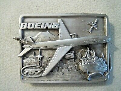 Boeing 757 Brass 3D Belt Buckle 1982 Mary Carter Washington State Vintage Nice!