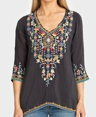 $225 JOHNNY WAS RYLEIGH EMBROIDERED BLOUSE TUNIC TOP WHITE SZ S M XXL NWT
