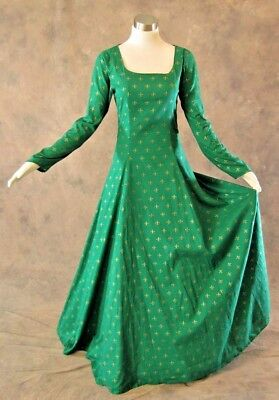 Vintage Long Sleeve Gown Mardi Gras Medieval Style Renaissance Lace Up Dress SCA