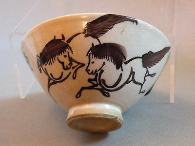 Jkl910 Japanese Antique Bowl With Horse Motif And Kanji